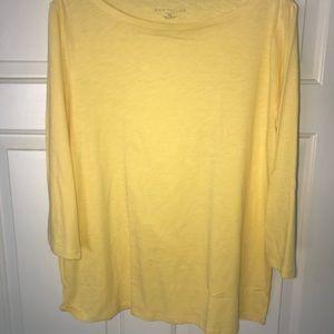 Ann Taylor Loft Factory Yellow 3/4 Sleeve Knit Top